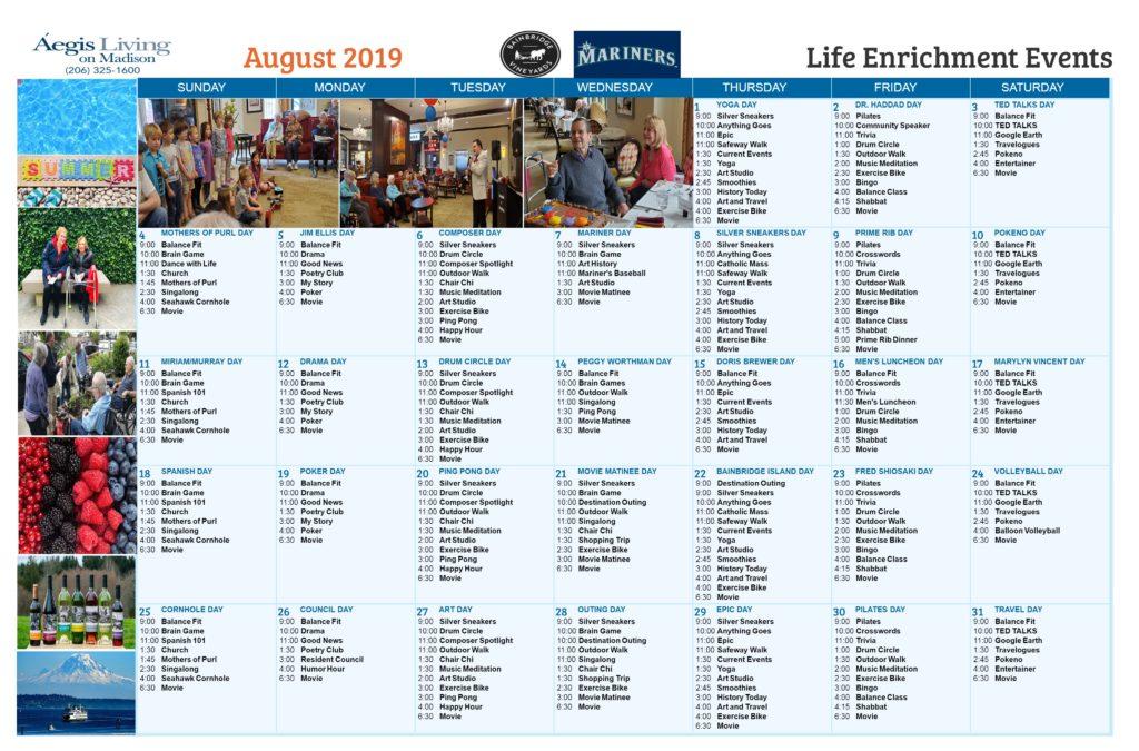 MADISON AUGUST 2019 CALENDAR
