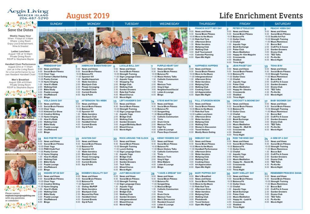 Mercer Island Sample Calendar AUG 2019