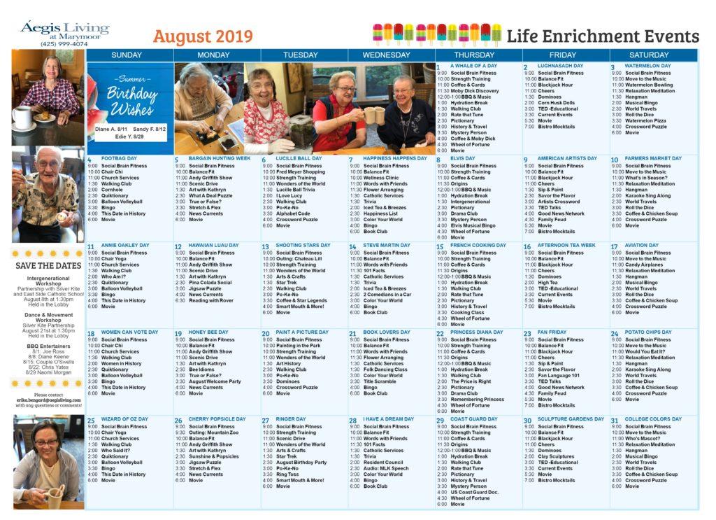 Marymoor August 2019 Calendar