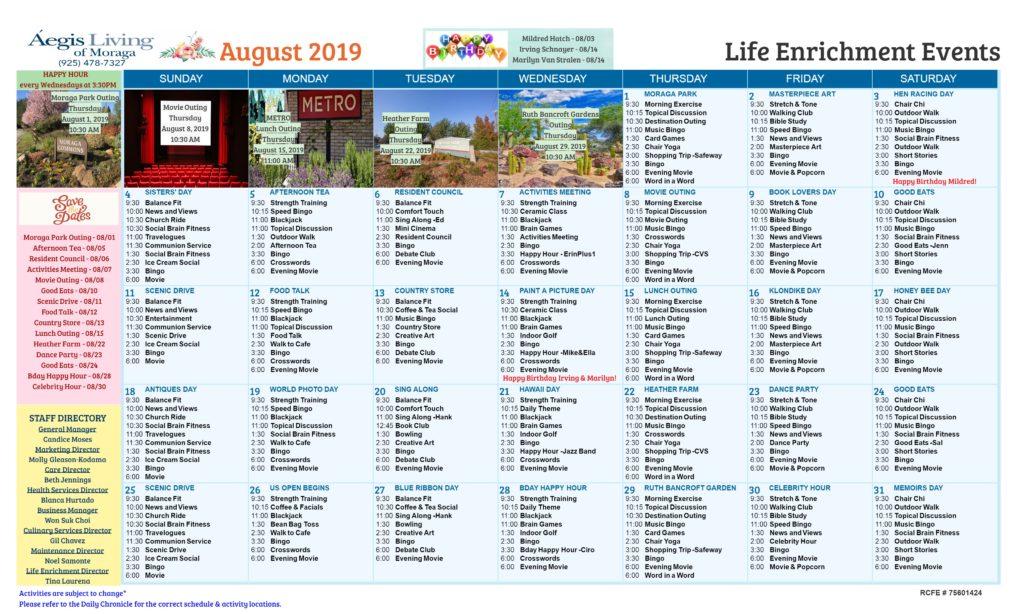 Moraga August Calendar