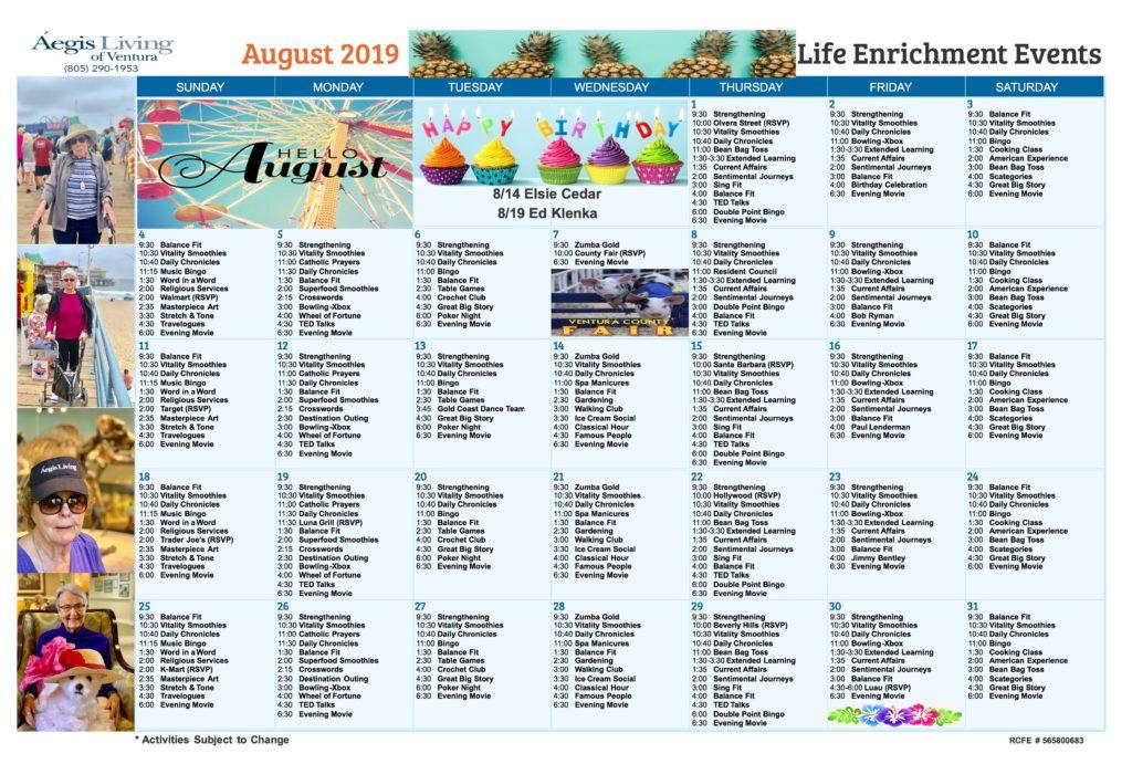 Ventura Calendar August 2019
