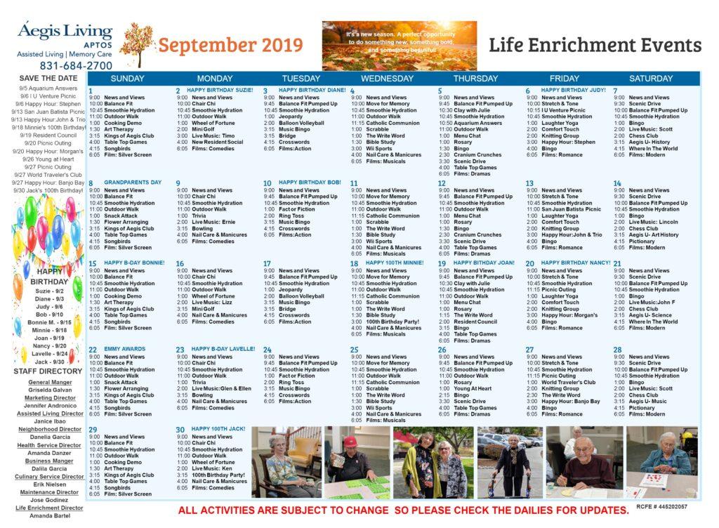 Aptos September 2019 Calendar
