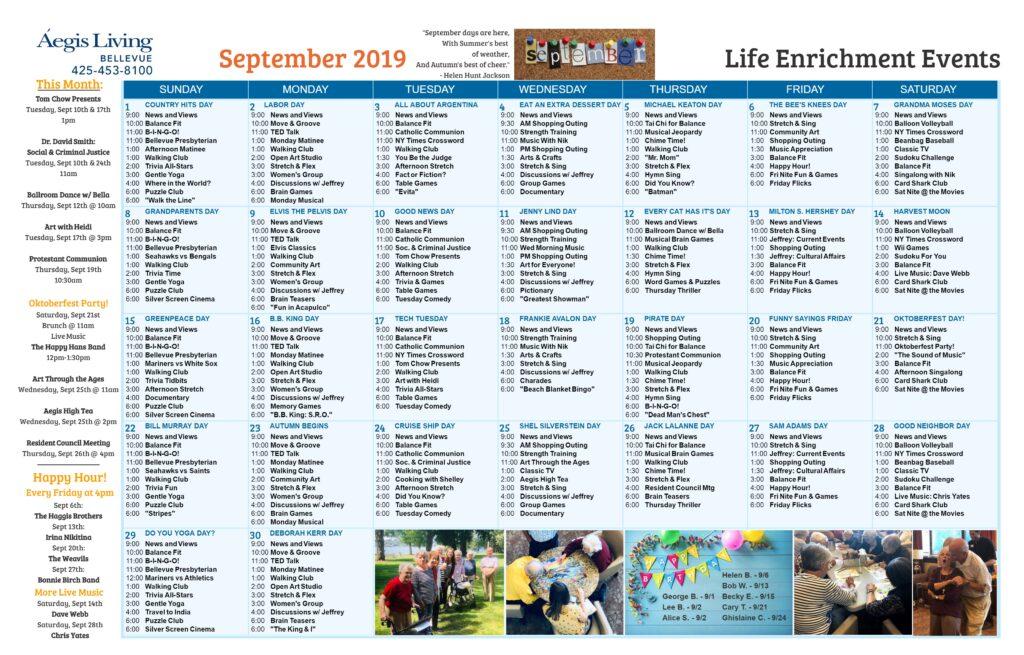 Bellevue Calendar September 2019