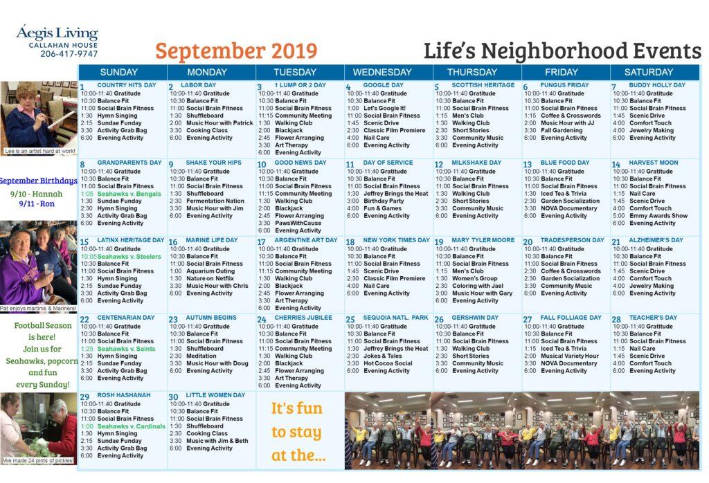 Callahan House Calendar - September 2019