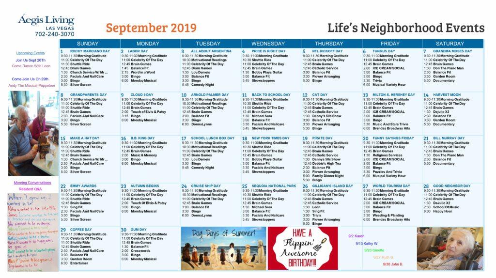 Las Vegas September Calendar