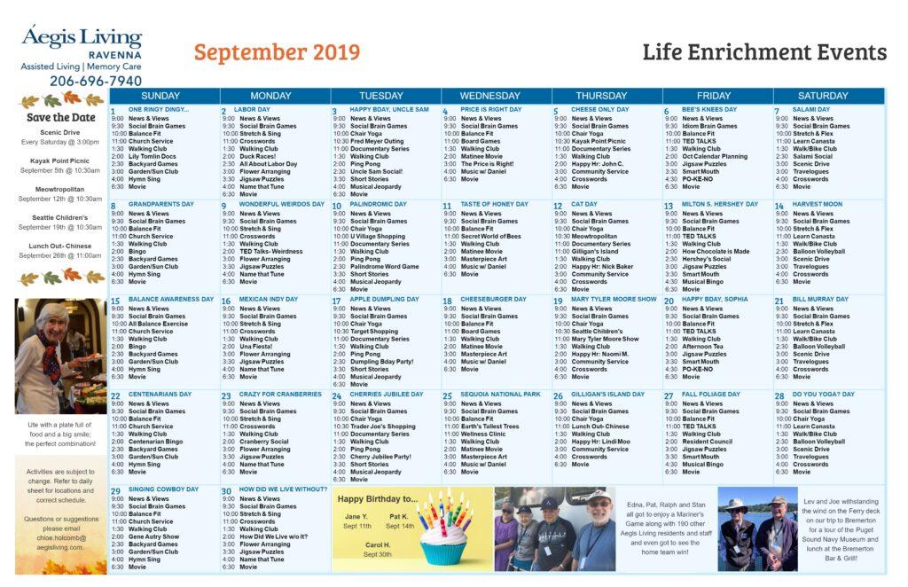 Ravenna Calendar- Sept 2019