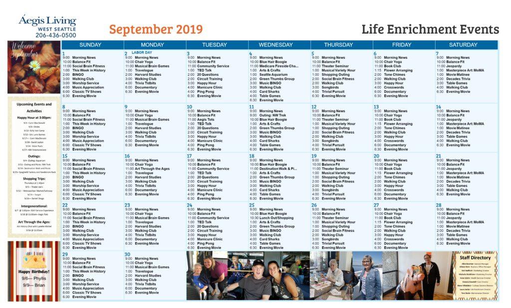 West Seattle Calendar- September 2019