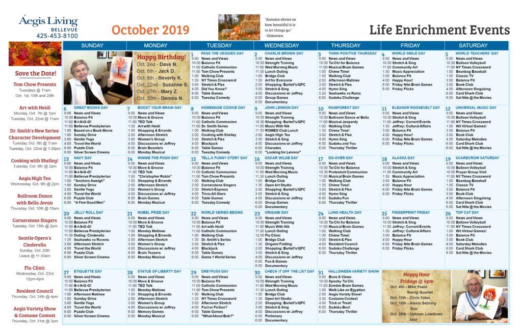 Bellevue Calendar October 2019