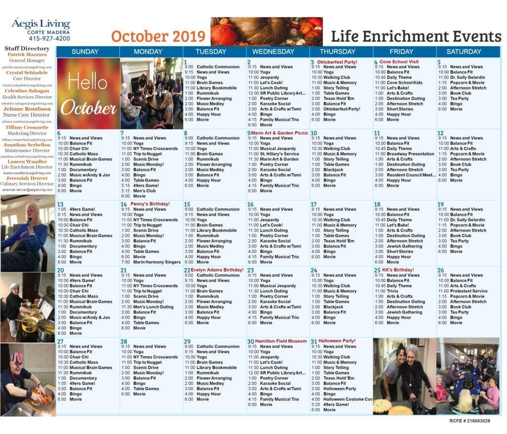 Corte Madera Calendar October 2019