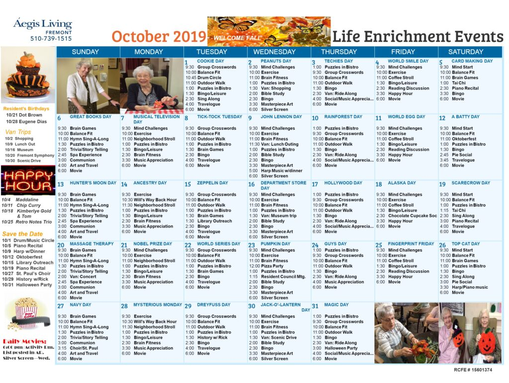 Fremont Calendar October 2019
