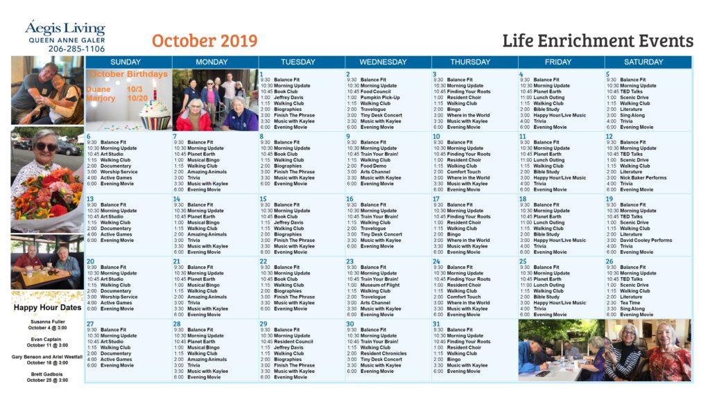 Galer October Calendar