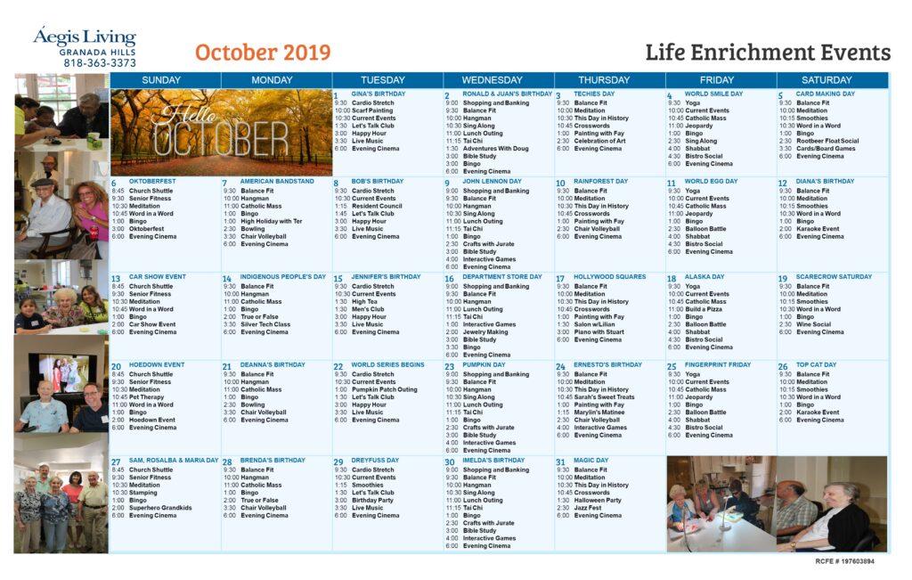 Granada Hills Calendar October 2019