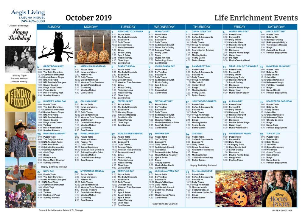 Laguna Niguel Calendar October 2019