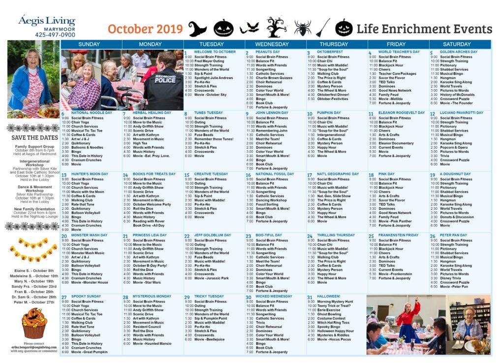 Marymoor Calendar October 2019