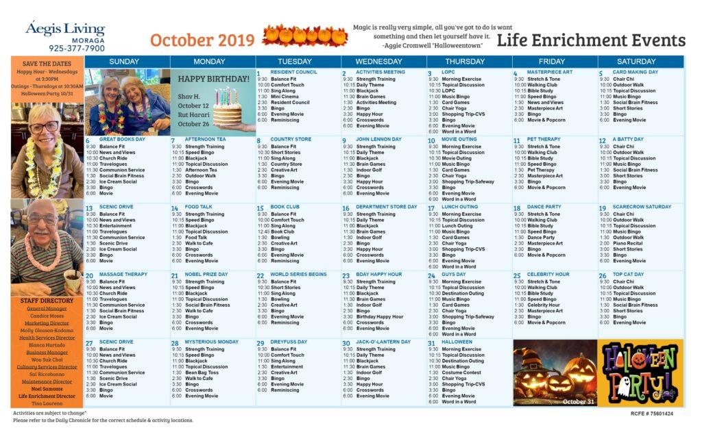 Moraga Calendar October 2019