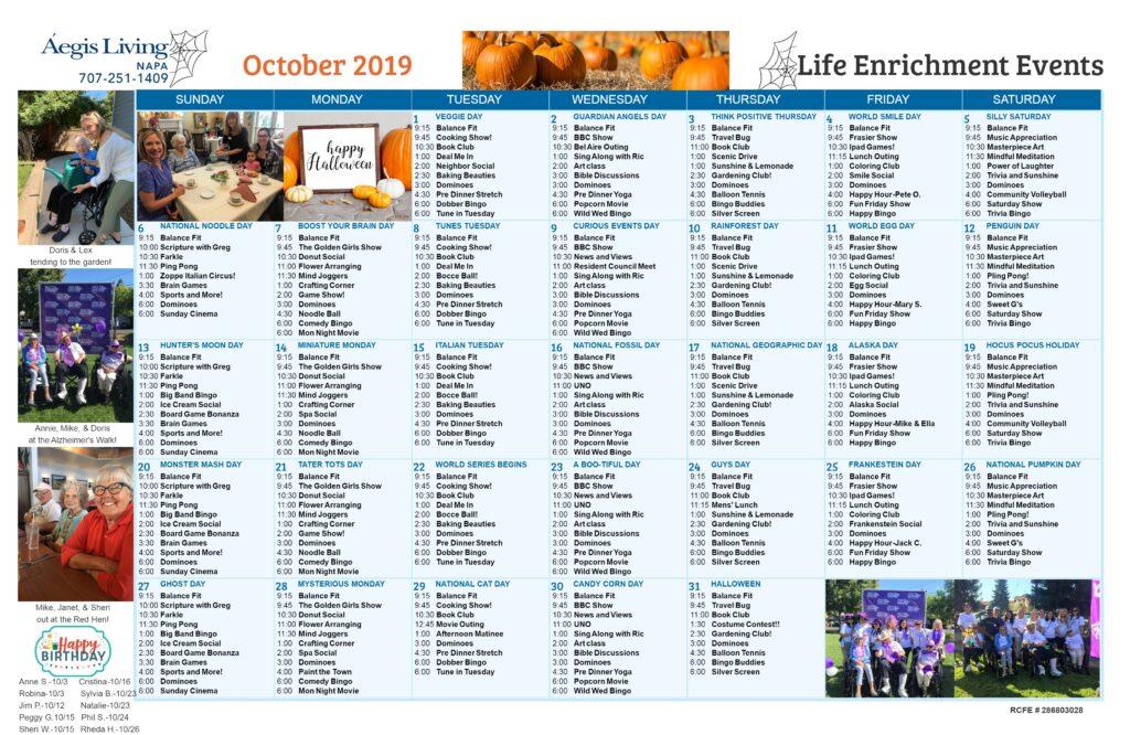 Napa October 2019 Calendar