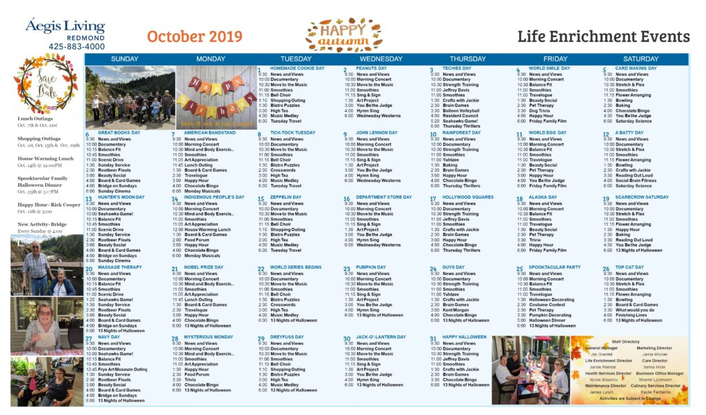 Redmond Calendar October 2019