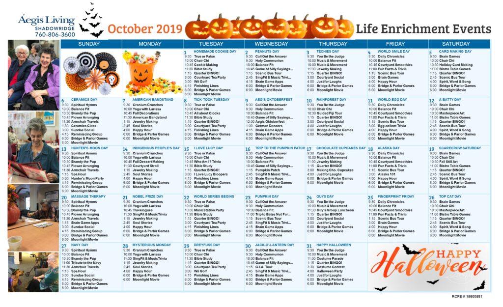 Shadowridge Calendar October 2019