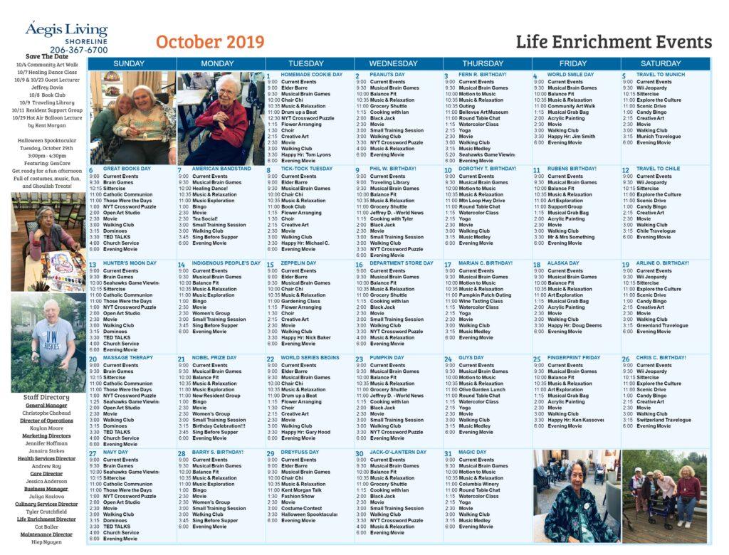 Shoreline Calendar October 2019