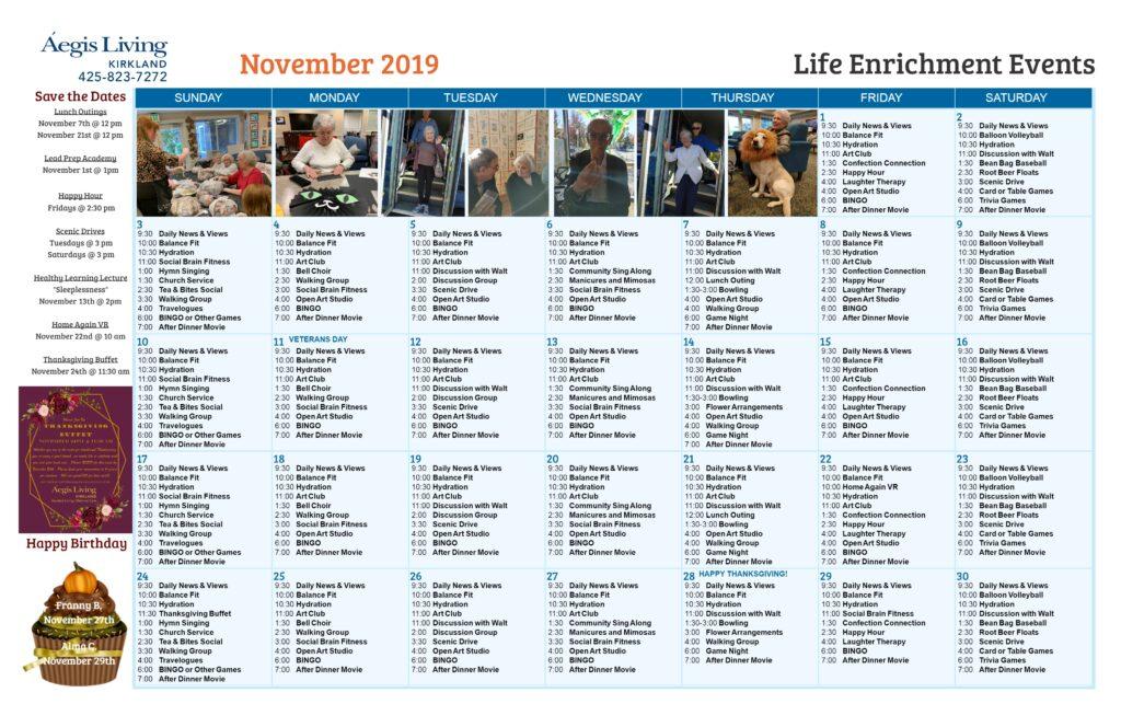 Kirkland November Calendar