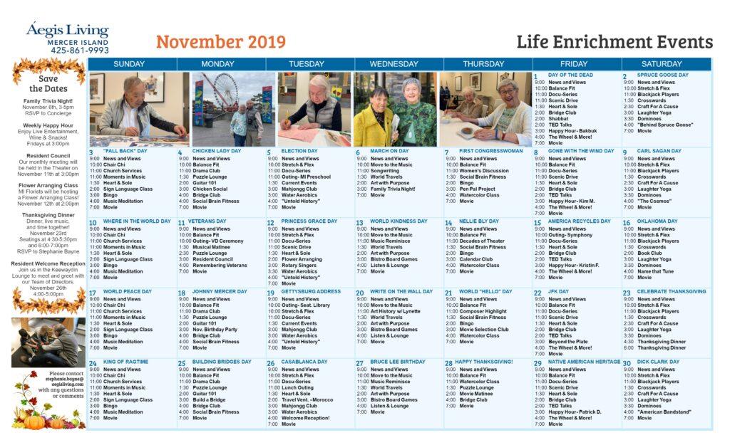 Mercer Island November Calendar