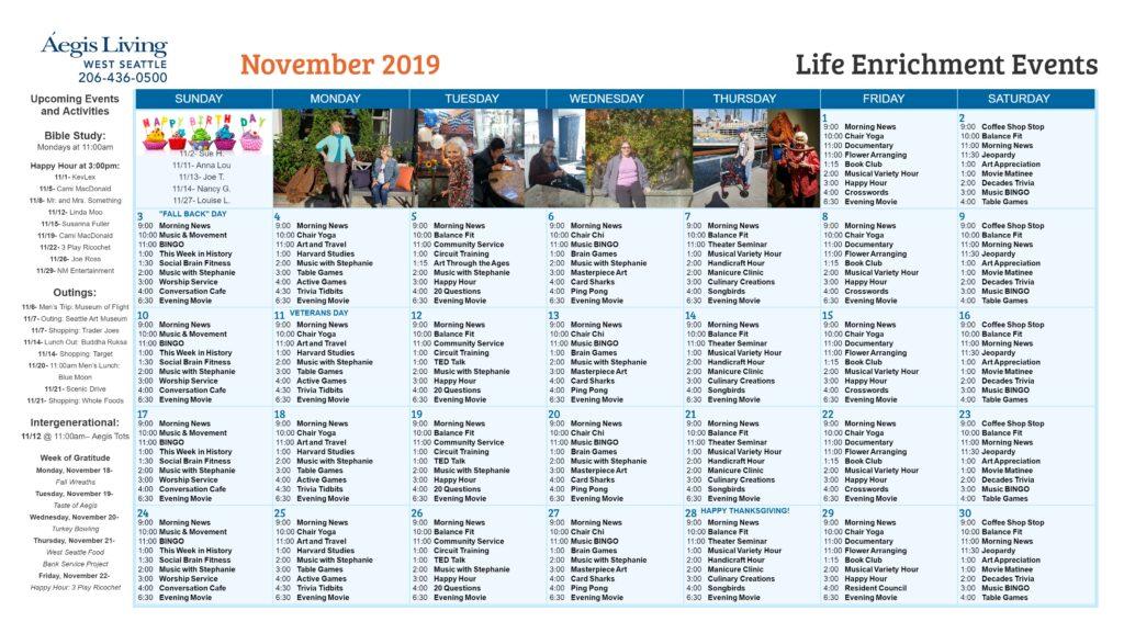 West Seattle November Calendar
