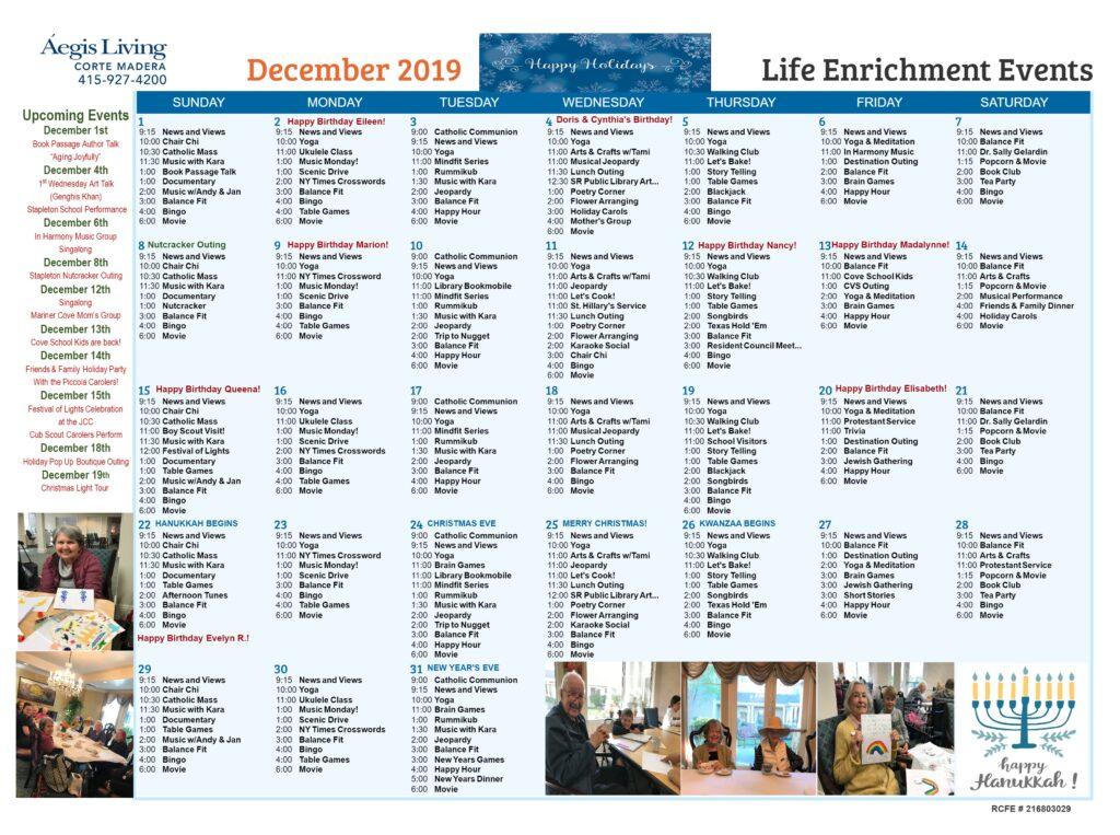 Corte Madera AL Calendar-December 2019