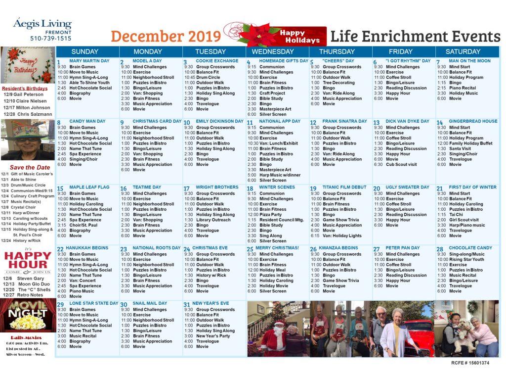 Fremont AL Calendar - December 2019