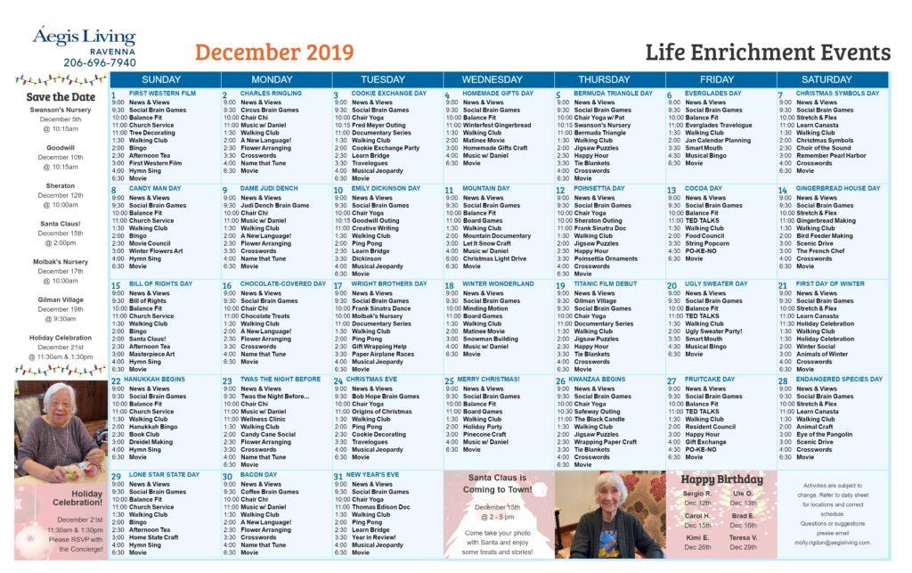 Ravenna AL Calendar - December 2019
