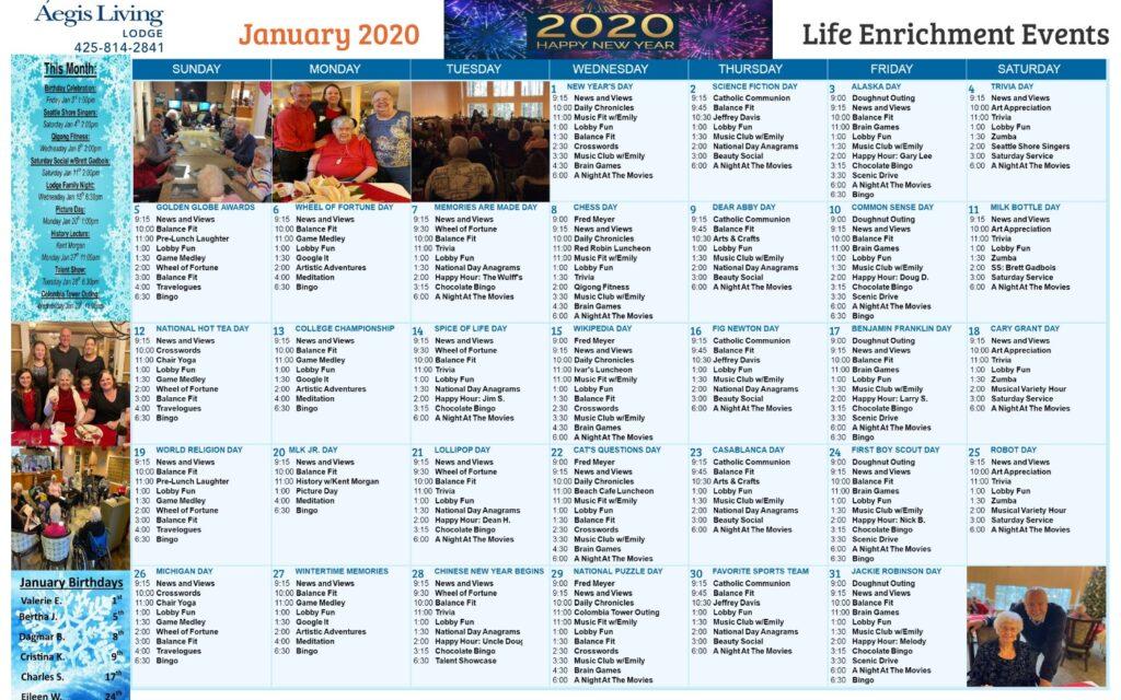 Aegis Lodge January 2020 Calendar