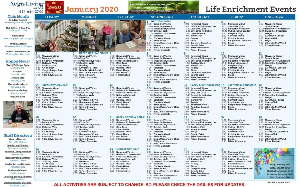 Aptos January 2020 Calendar