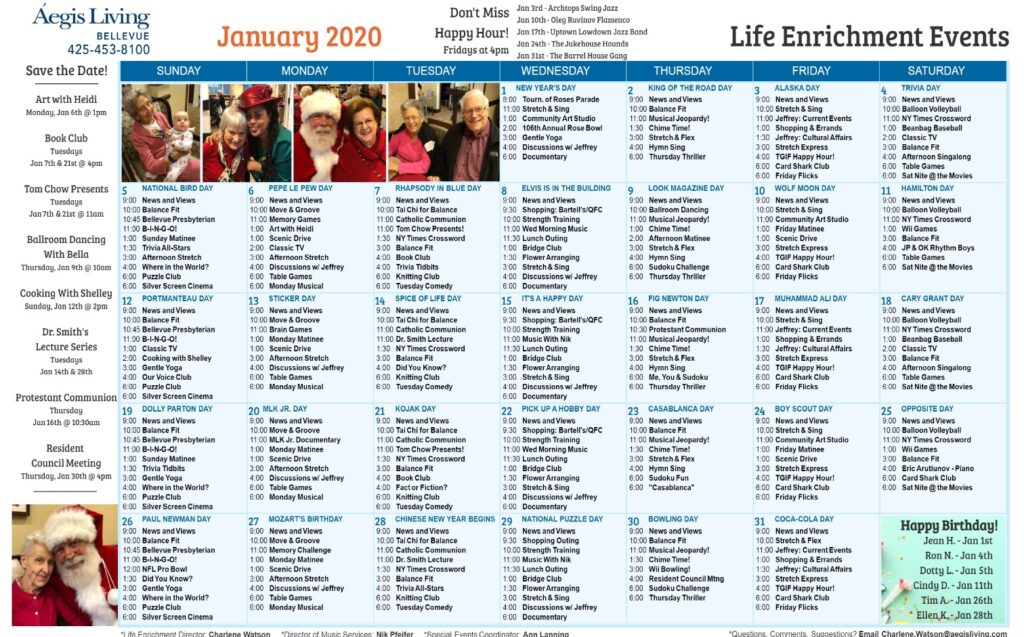 Bellevue January 2020 Calendar