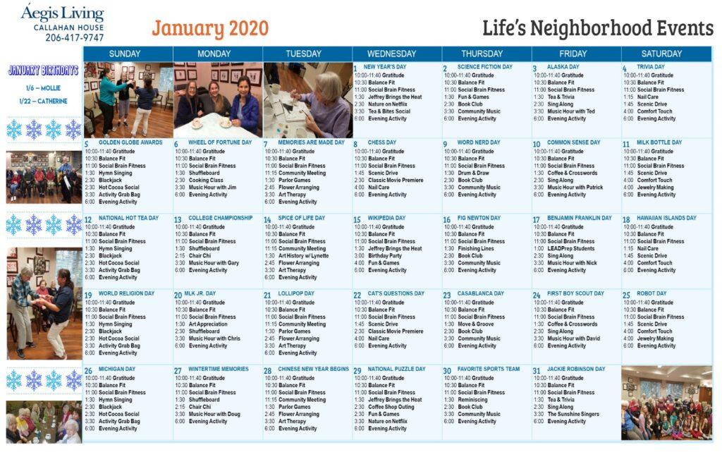 Callahan House January 2020 Calendar