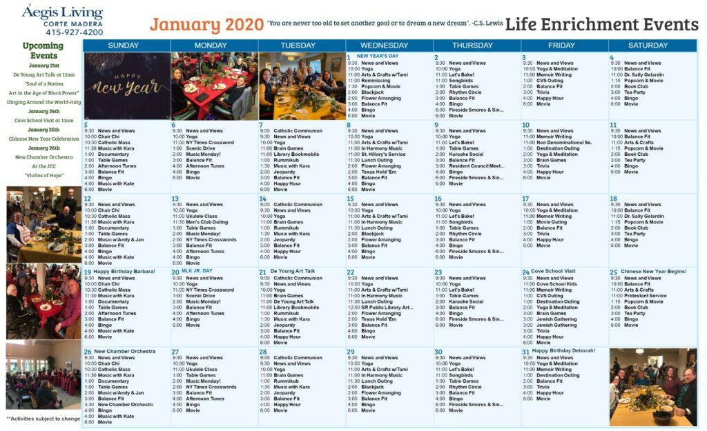 Corte Madera January 2020 Calendar