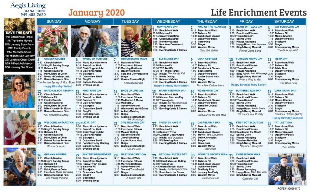 Dana Point January 2020 Calendar