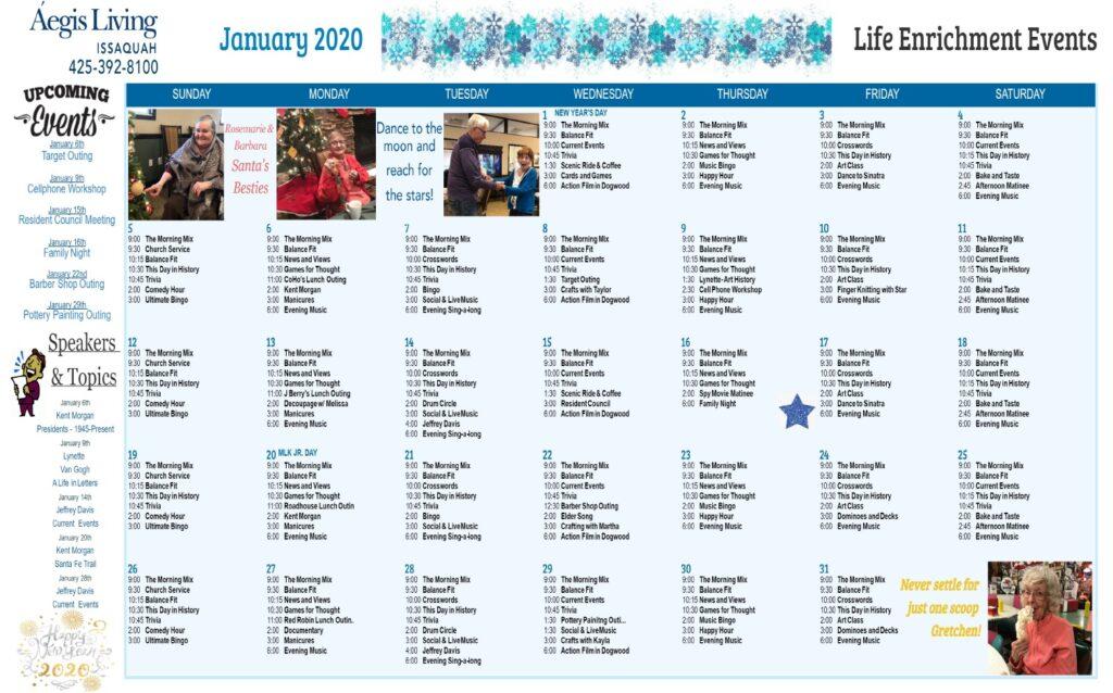 Issaquah January 2020 Calendar