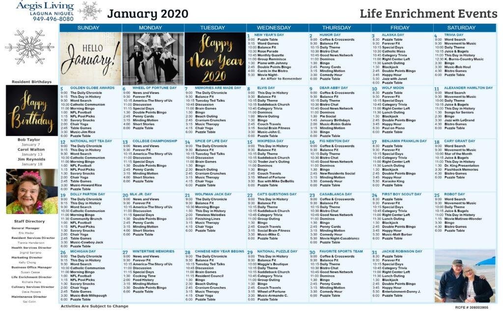 Laguna Niguel January 2020 Calendar