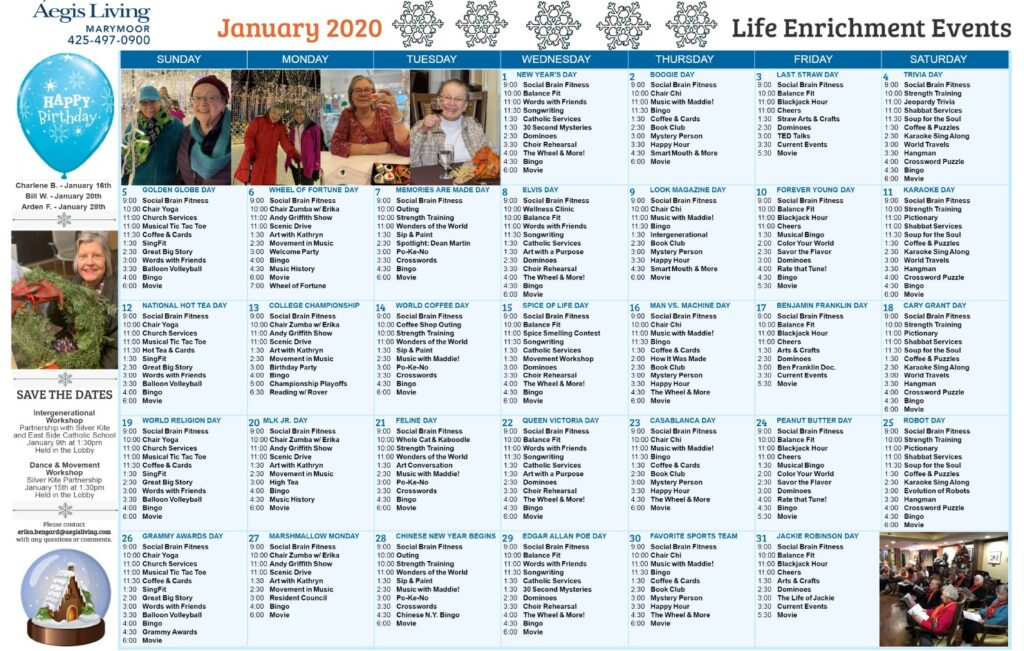 Marymoor January 2020 Calendar