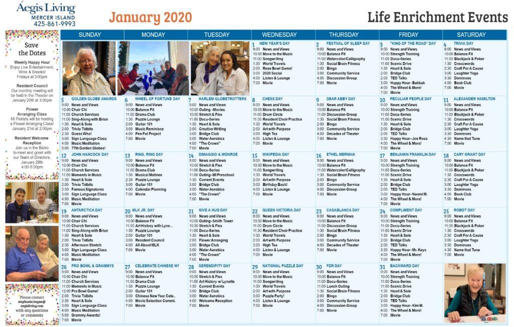 Mercer Island January 2020 Calendar