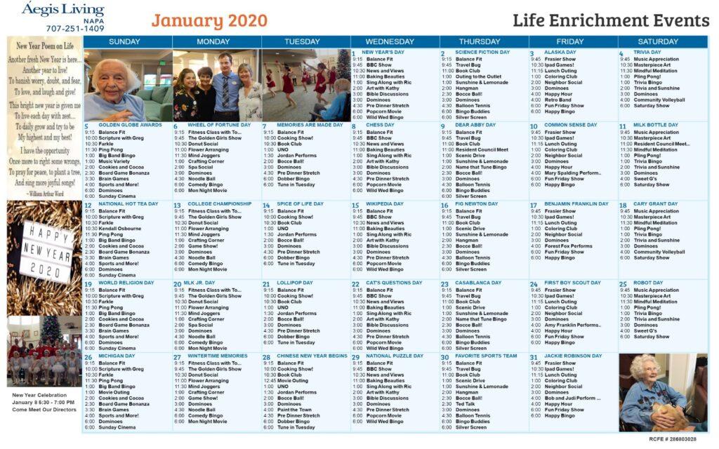 Napa January 2020 Calendar