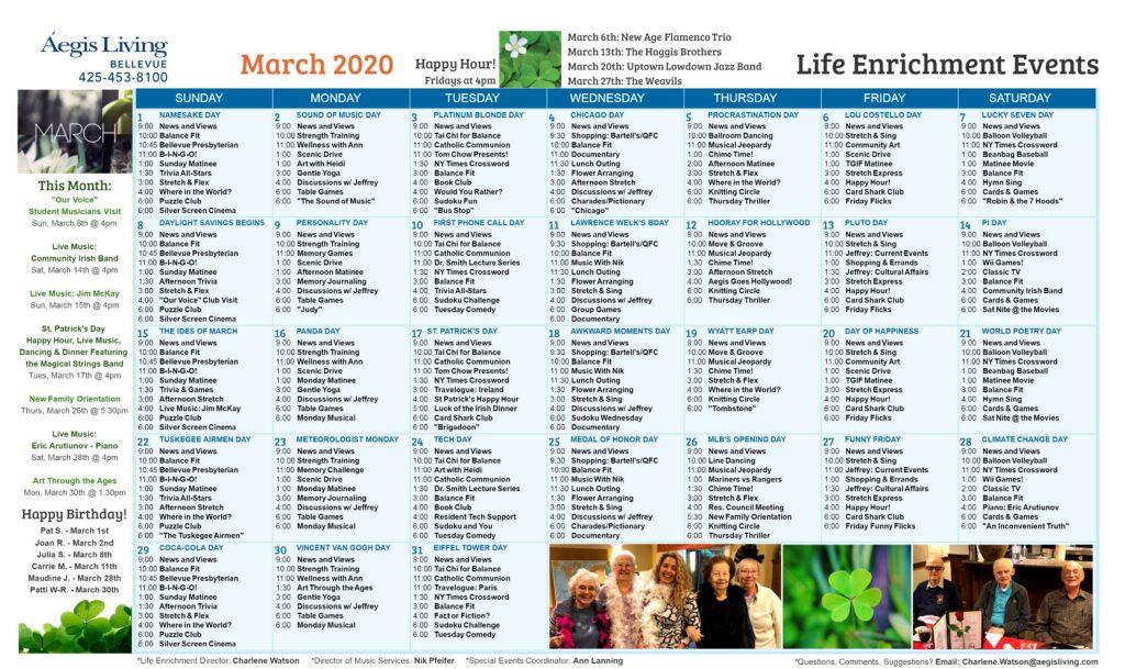 Bellevue Calendar