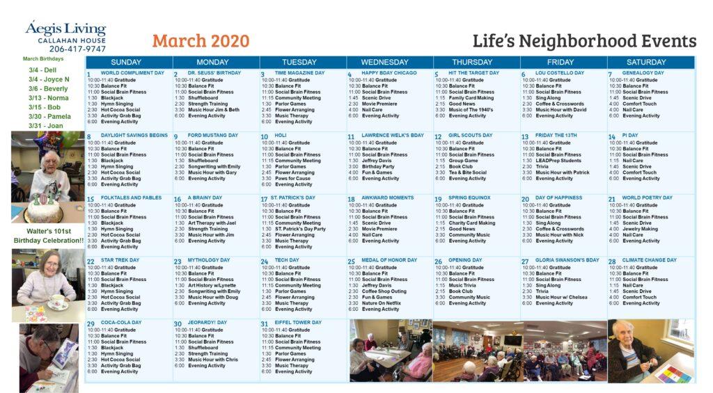 Callahan House Calendar