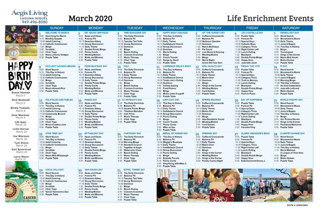 Laguna Niguel Calendar