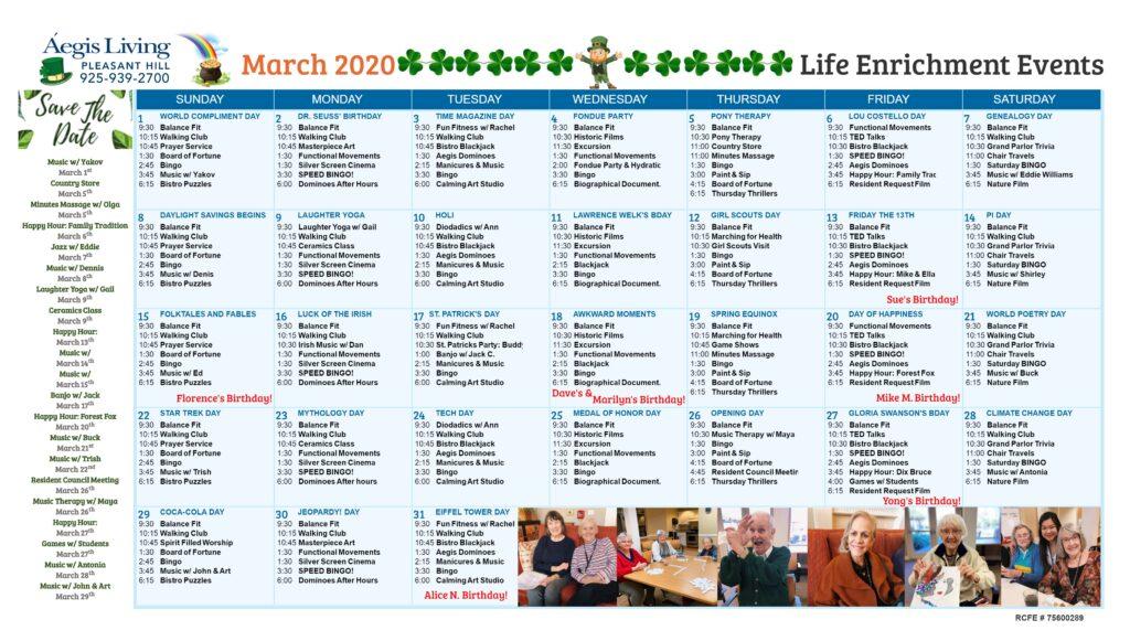 Pleasant Hill Calendar