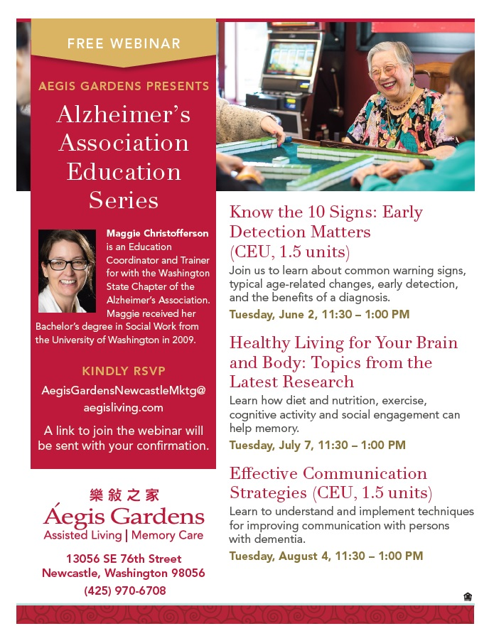 Alzheimer's Association Webinar Education Series | Aegis Living