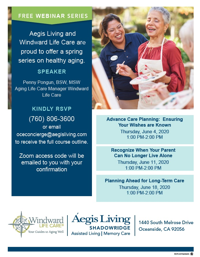 Free Webinar Series: Senior Care & Planning | Aegis Living