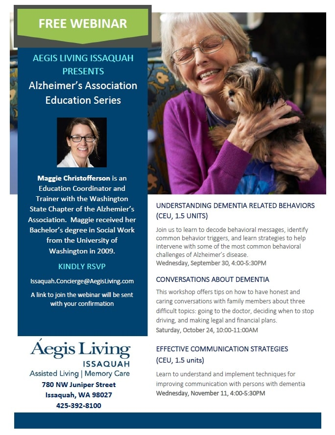 Free Webinar: Alzheimer's Association Education Series | Aegis Living