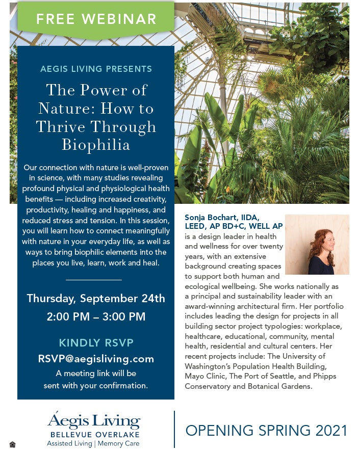 Free Webinar: The Power of Nature | Aegis Living