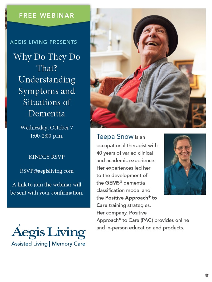 Free Webinar : Teepa Snow | Aegis Living