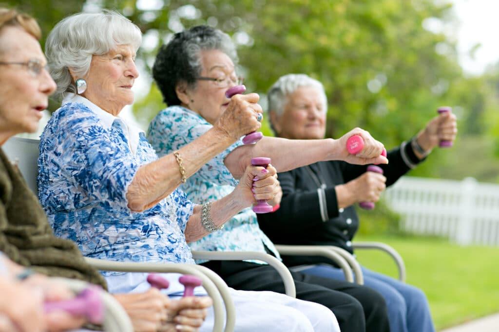 Where to Begin group of women exercising outside